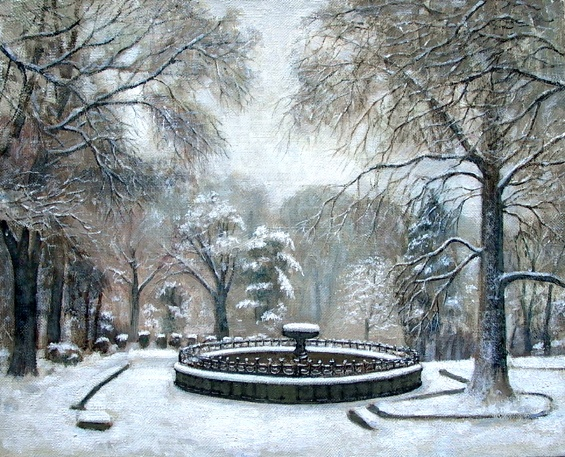 Сад зимой этюд живопись пейзаж