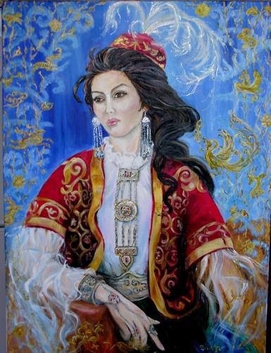 Казахская девушка в национальном костюме.  Дата размещения: 01.07.2008, 20:37.  Техника: холст, масло.
