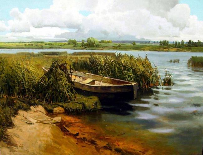 деревенские просторы пустая лодка
