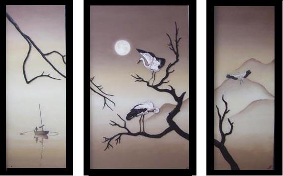 японская, восточная живопись,журавли,птицы,горы...