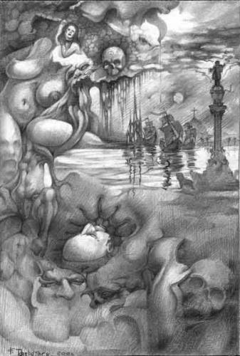 "Фёдор Крамской  ""Колумб.  Перед неизвестностью. "" карандаш, бумага, 2001г."