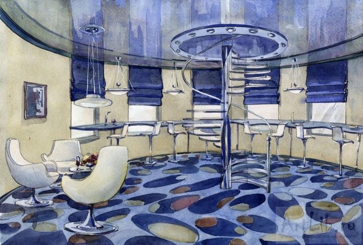 Дизайн интерьера акварель