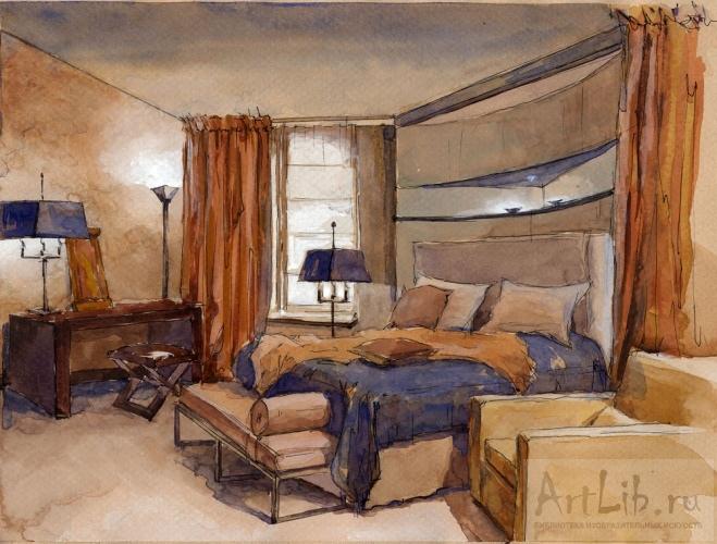 Эскиз интерьера спальной в квартире