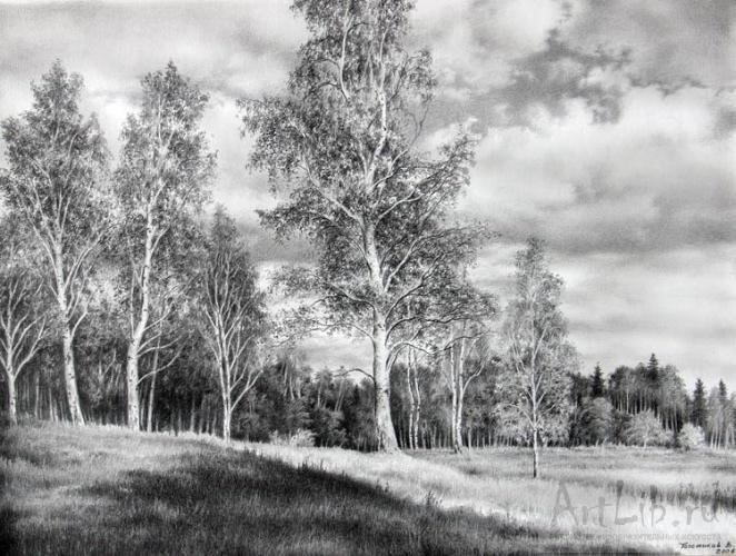 Рельский пейзаж 1883 бумага карандаш