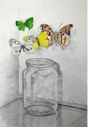 Как рисовать банку акварелью