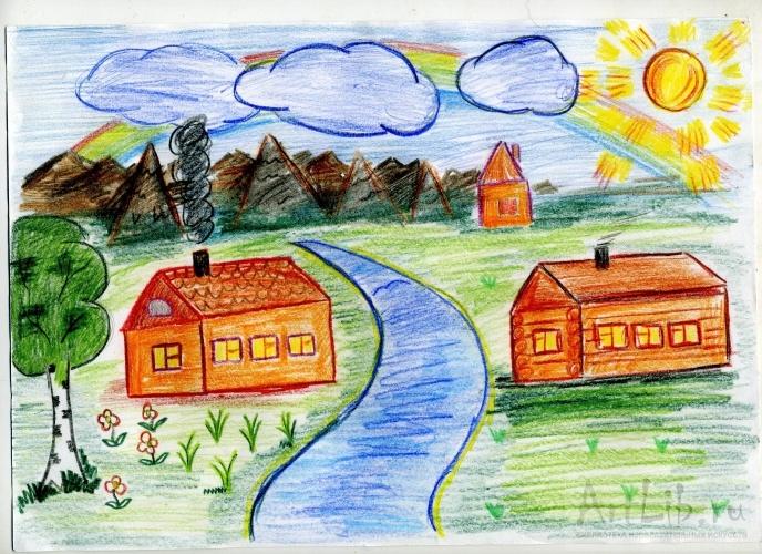 Мое село рисунок