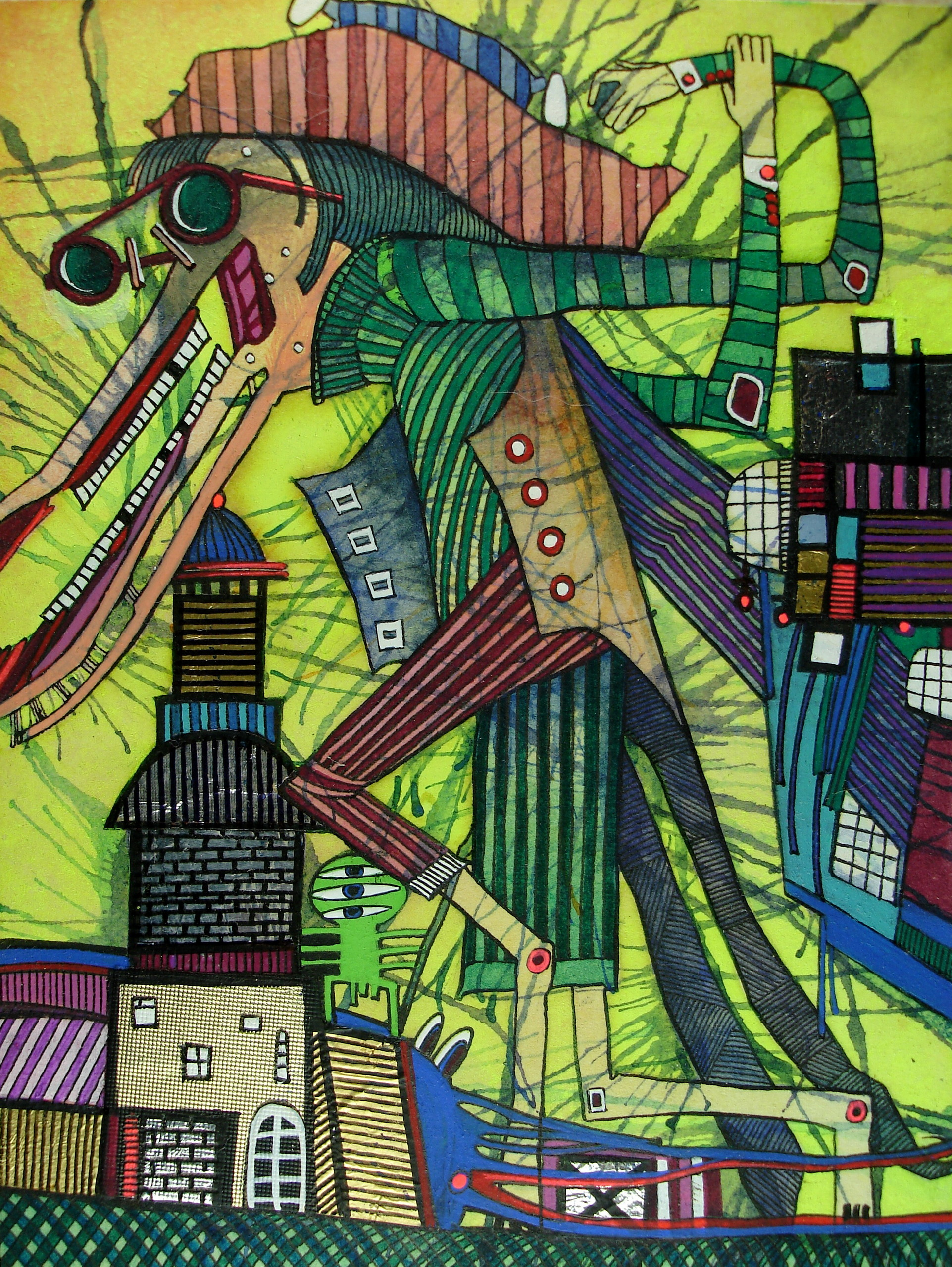 Бумага/акварель, тушь-перо, акрил, гуашь 12см x 9см 1998 г. Работа