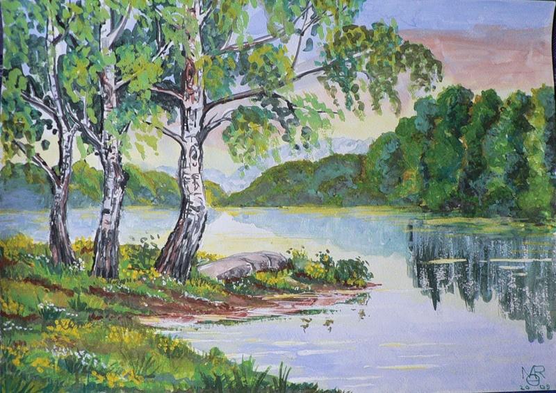 Рисунок легкий пейзаж для начинающих