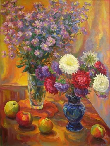 Картинки живопись осенние цветы