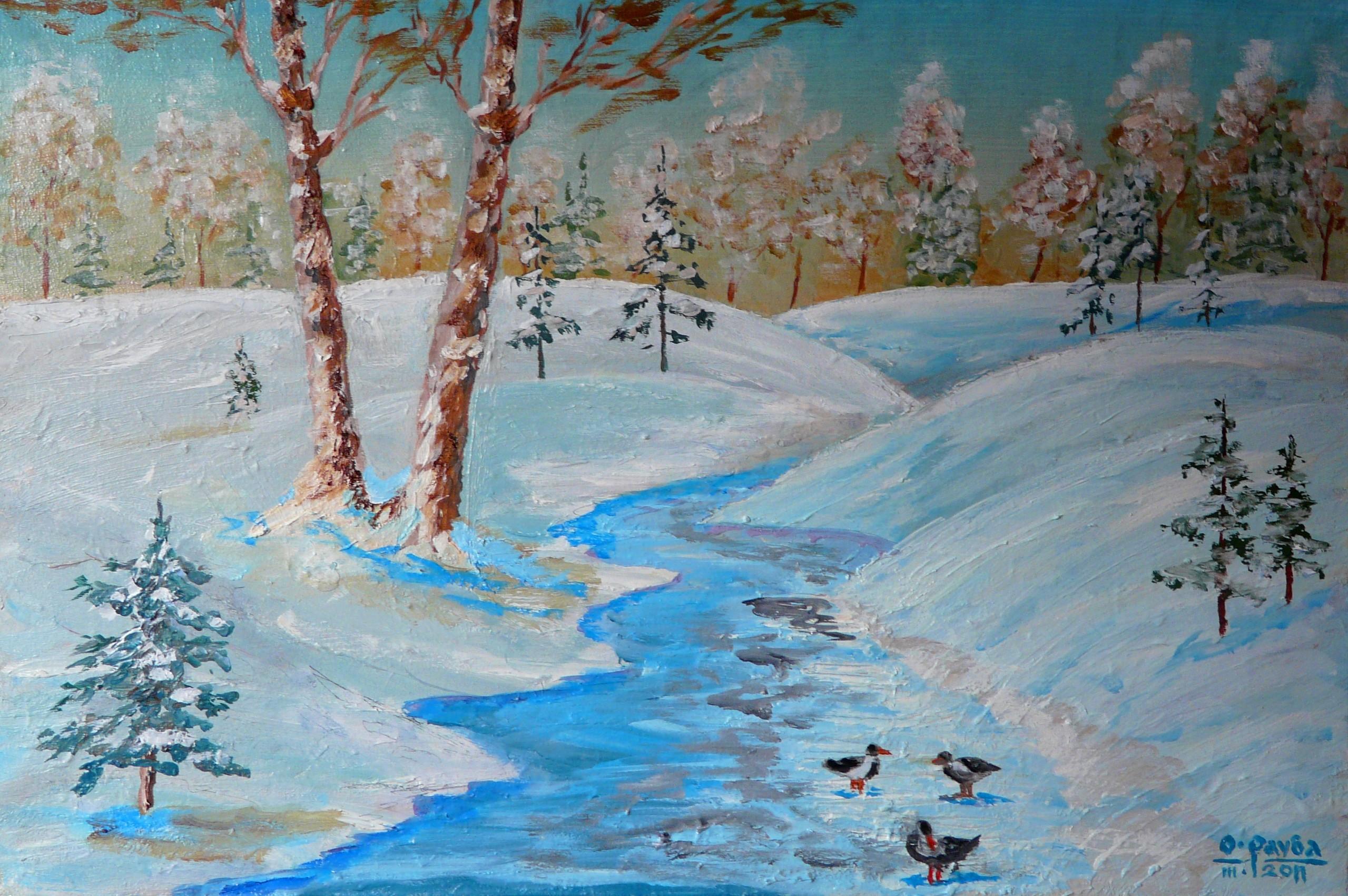 Зима рисунки маслом 4