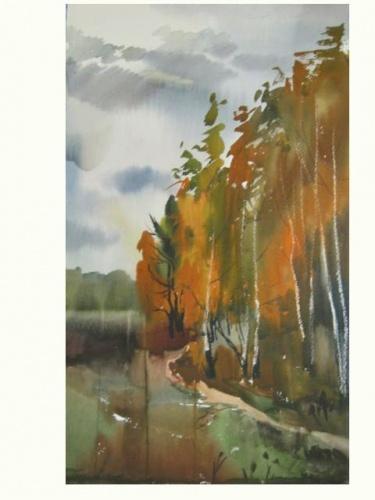 Осенние пейзажи гуашью