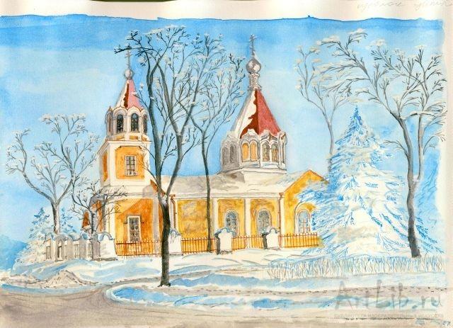 Нарисовать храм акварелью 156