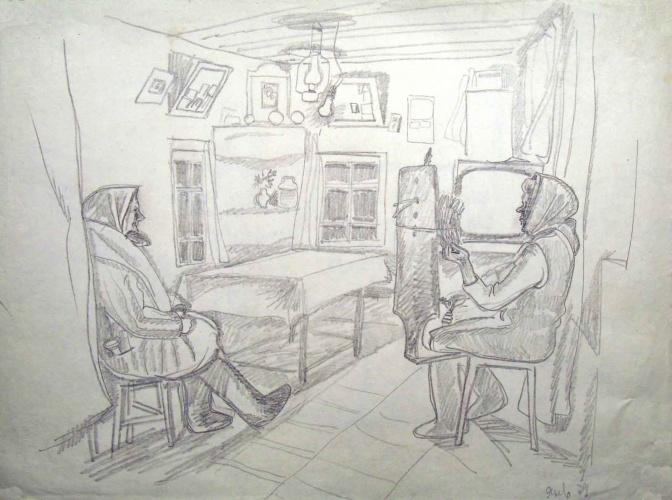 Рисунок из бытового жанра