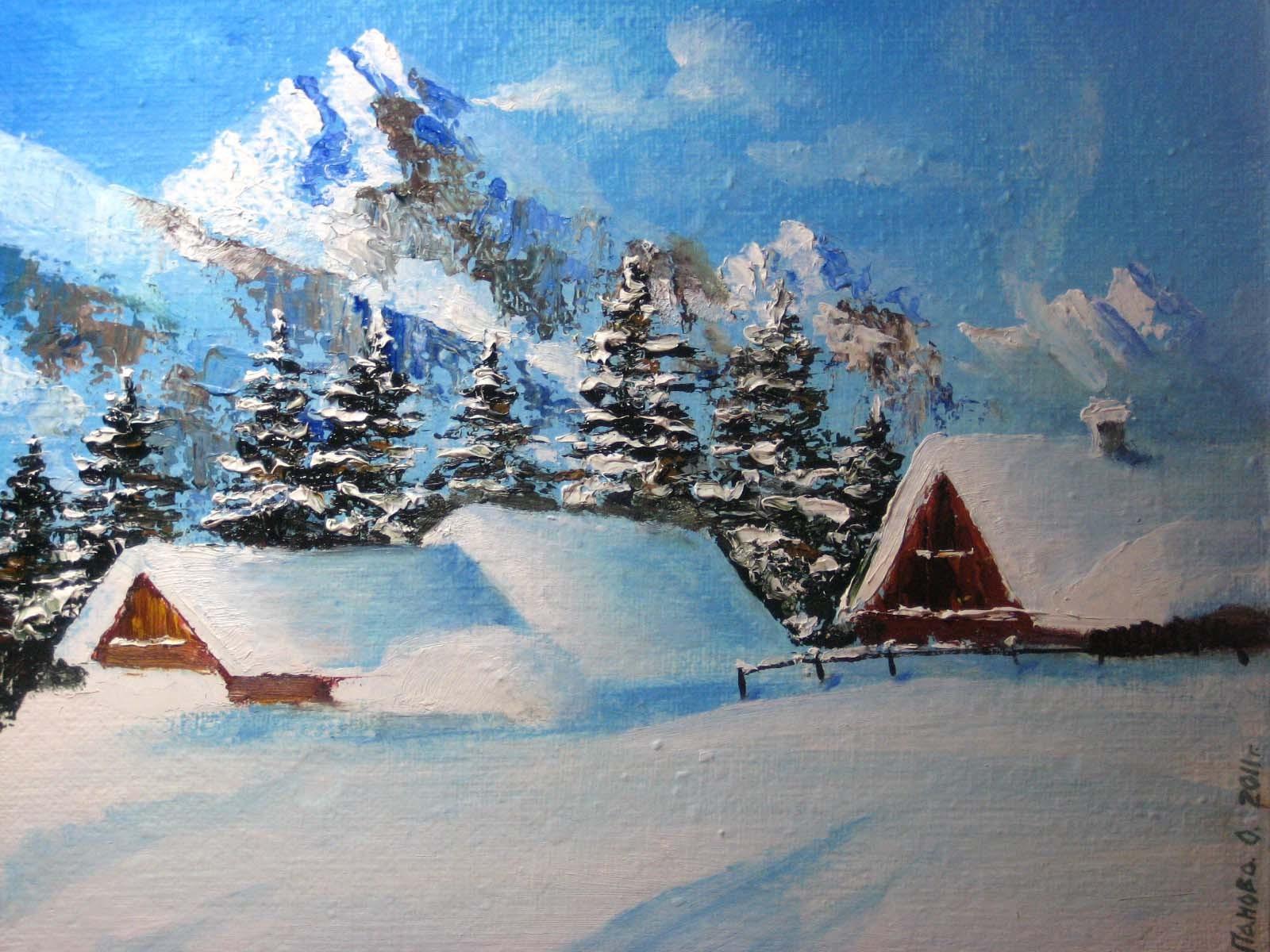Зима картины маслом 6