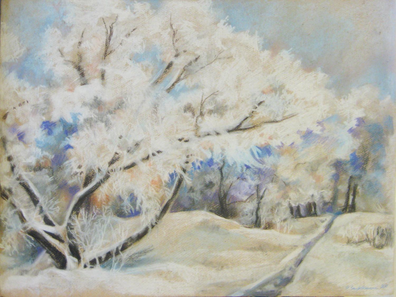 Зима рисунки маслом 3