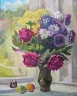 Нарисованный натюрморт с цветами