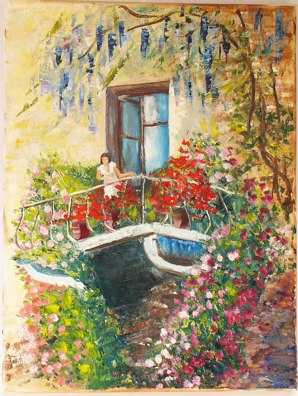 Храмышева - продажа картины балкон с цветами.