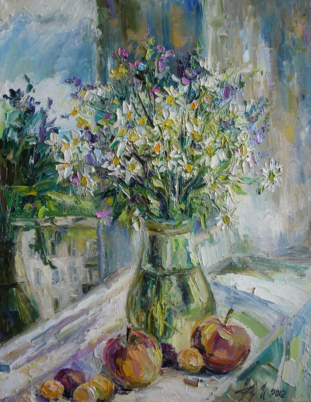 Картины (живопись) : ромашки на балконе. автор ирина алексан.