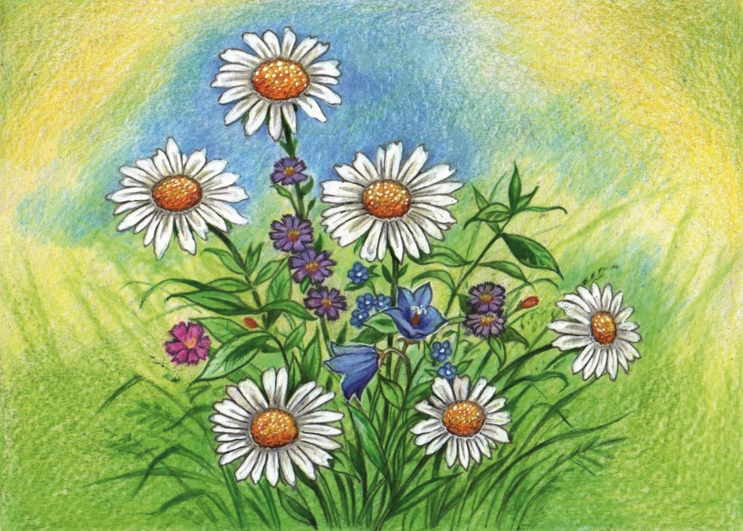 Как нарисовать луг цветов фото