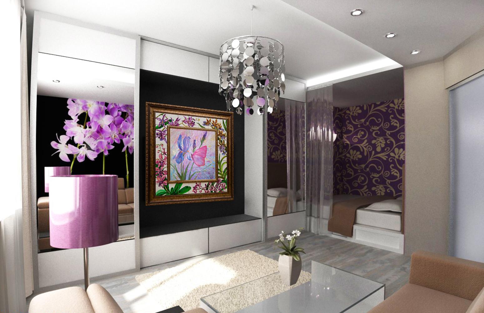 Гостиная совмещенная со спальней - фото примеров оформления.